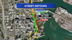 mercedes downtown downtown miami streets shutdown for mercedes corporate run