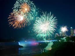 niagara falls fireworks and beautiful lights over horseshoe
