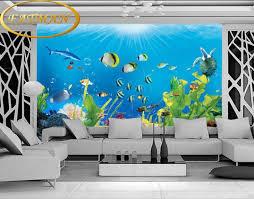 chambre aquarium personnalisé photo papier peint salon enfants chambre aquarium mural