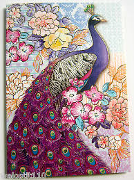 punch studio lavender peacock note cards set of 12 keepsake box