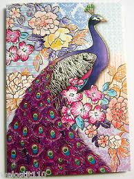 punch studio lavender peacock note cards set of 12 keepsake box