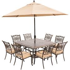11 Piece Patio Dining Set - traditions 9 piece dining set in tan with square 60 in cast top
