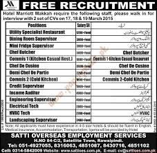 Hotel Marriott Makkah Jobs Express Jobs Ads  March  PaperPk - Dining room supervisor job description
