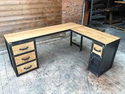 bureau industriel metal bois brocantetendance fabrication sur mesure mobilier industriel bois métal