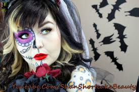 sugar skull day of the dead bride halloween makeup tutorial youtube