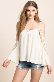 Alexia women u0027s blouses alexia crochet cold shoulder top a u0027gaci