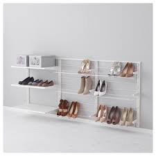 fascinating shoe storage with white floating open racks decor in