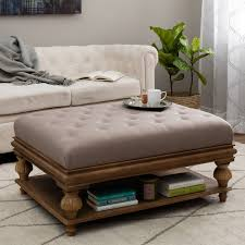 Taupe Ottoman Carbon Loft Elements Rubbed Light Brown Wood Ottoman W Taupe