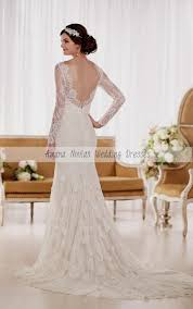 lace low back wedding dress with sleeves naf dresses