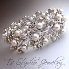 rhinestone cuff bracelet images Pearl and crystal cuff bridal bracelet white ivory rhinestone wedding jpg