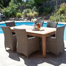 Outside Dining Table And Chairs Ciov - Wooden dining table with wicker chairs