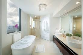 luxurious master bathrooms design with beautiful lamps decor