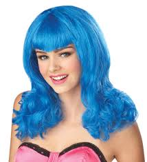 blue wig costume hair wig long
