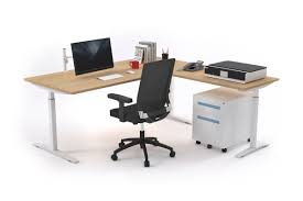 stand up electric l shaped standing desk right side return 1600l x