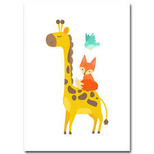 chambre la girafe décoration poster toile animaux girafe renard oiseau