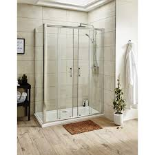 premier pacific double sliding shower door 1400mm wide 6mm glass f
