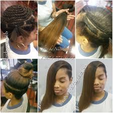 natural looking versatile sew in hair weave on client with shaved
