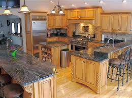 granite countertop kitchen wall color with oak cabinets