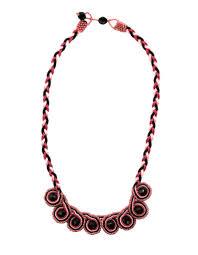 beaded home decor pink and black beaded swirl sutash necklace guatemala u2013 global