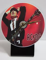 ac dc picture cd desk clock with black acrylic base gold record