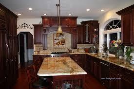 Mediterranean Kitchen Tiles - granite with veins kitchen mediterranean with cherry cabinets