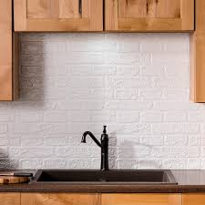 vinyl kitchen backsplash fasade brick 24 25 in x 18 25 in vinyl backsplash in matte white