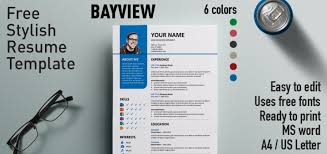 Edit Resume Template Word Bayview Stylish Resume Template
