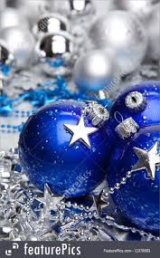 holidays blue and silver balls stock picture i2378693