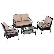 outsunny 4pc rattan sectional patio furniture sofa set aosom com