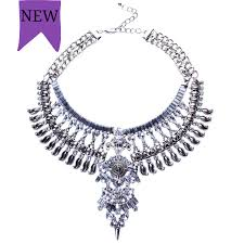 necklace silver online images Bohemian vintage necklace crystal multi layer chock necklace png