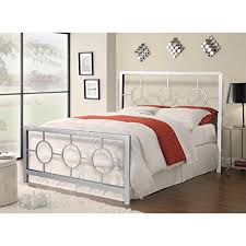 Silver Queen Bed Home Furnishings Queen Size Metal Bed Frame With Decorative