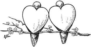 2 bullfinches 2 hearts coloring free printable coloring