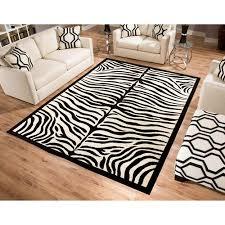 Zebra Area Rugs Terra Zebra Woven Area Rug Black And Beige Walmart