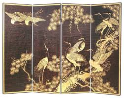 Asian Room Dividers by Wayborn Hand Painted Cranes Wall Room Divider In Black Gold