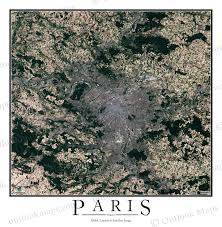 Satellite View Map Paris France Satellite Map Print Aerial Image Poster