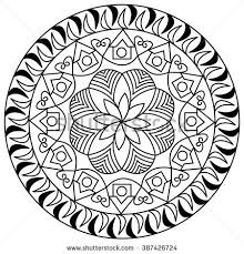 mandala coloring adults floral doodle stock vector 387426724