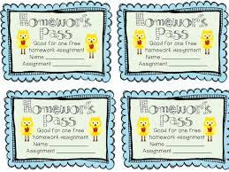 customizable homework pass template memorable fun tk