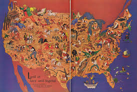 Map Of America by Wlliam Gropper U0027s Folklore Map Of America Cornell University
