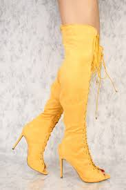 s yellow boots knee high yellow boots vintage mod 60 s 1960 s yellow suede gogo