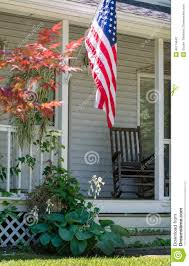 Porch Flag Cozy Front Porch In America Stock Photo Image 46714642