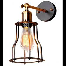 Wire Cage Light Metal Industrial Mini Wire Cage Edison Wall Sconce Wall Lamp Light