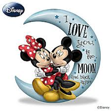 mickey mouse u0026 minnie mouse love moon figurine
