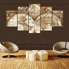 World Map Home Decor 5 Pieces Canvas Painting World Map Picture Canvas Poster Print
