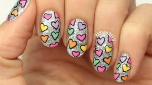 valentine u0027s glitter u0026 hearts nail art freehand youtube
