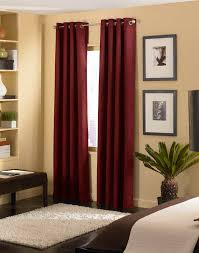 Red Curtains Living Room Furniture Grommet Curtains With Brown Rug Design And Soft Red