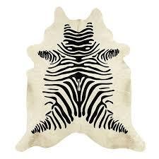 Taupe Zebra Rug Natural Cowhide Rug Stenciled Black And White Zebra Ballard