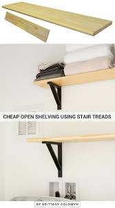 tiny laundry nook update 2 open shelving using stair treads