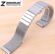 buckle clasp bracelet images 20mm 22mm silver shark mesh stainless steel watch band bracelet jpg