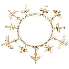 bracelet charm gold jewelry images Yellow gold airplane charm bracelet vintage charm bracelet jpg