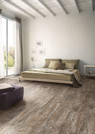 serene bedroom wood plank tile modern rustic distressed